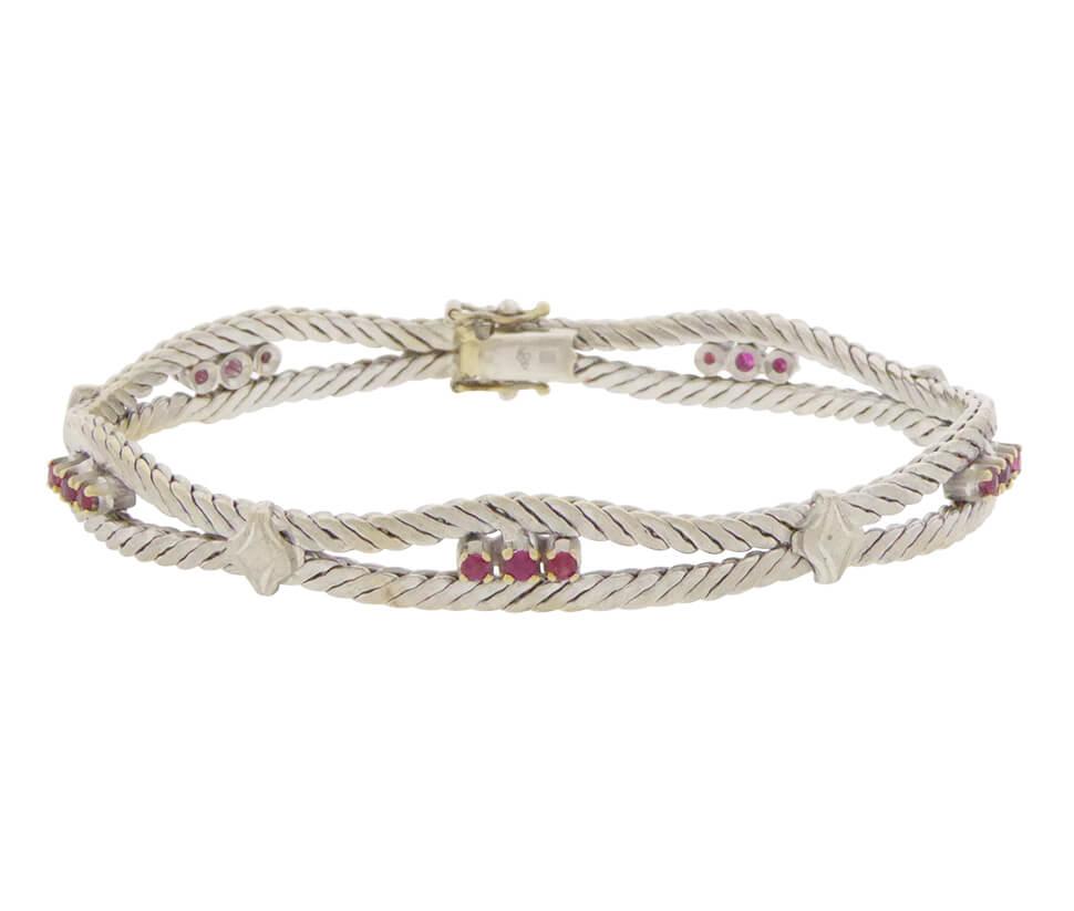 Wit gouden armband met robijn