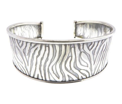 Zilveren zebra klemarband