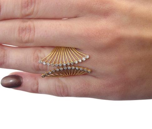 Zirkonia geel gouden ring