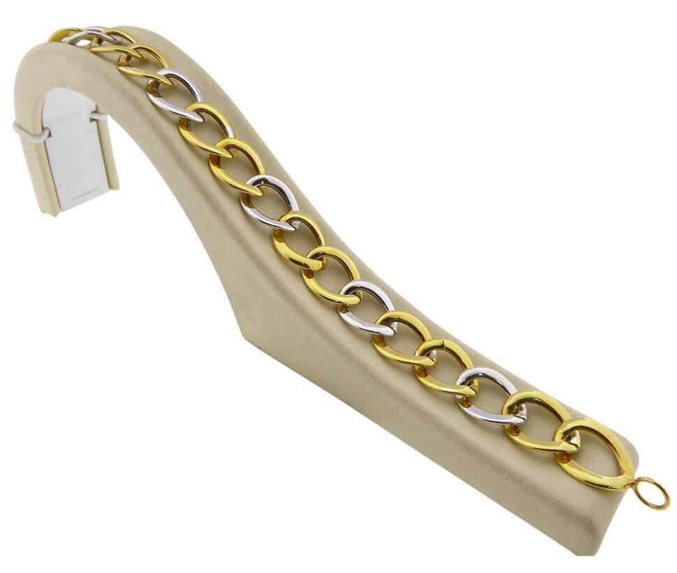 14 karaat bicolor gourmette schakelarmband