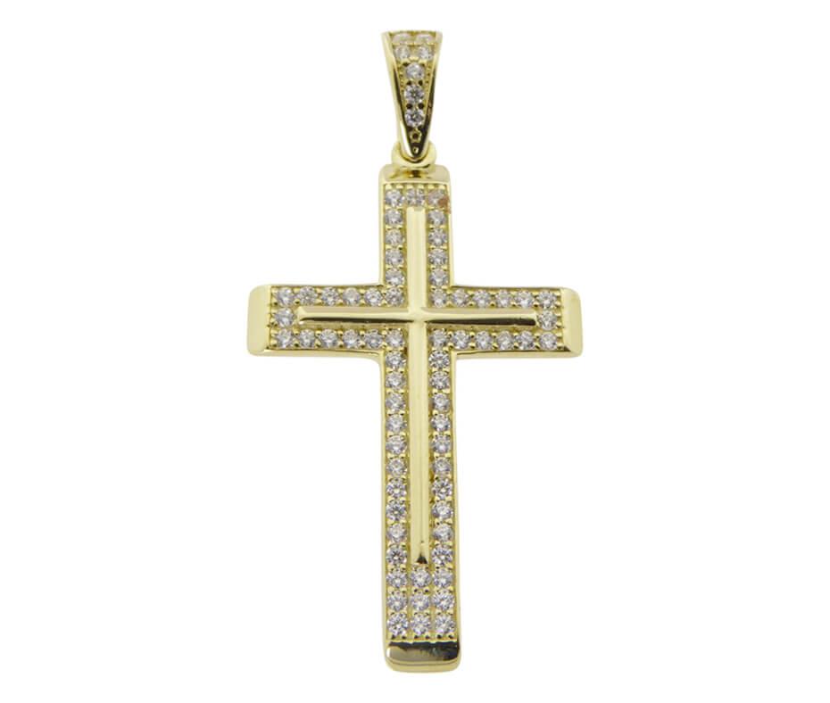 14 karaat gouden zirkonia kruis