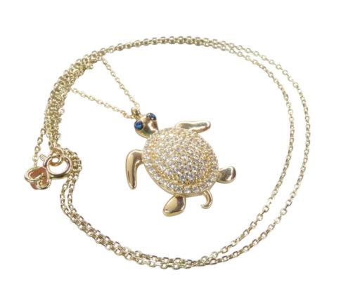 14 karaat schildpad hanger met ketting
