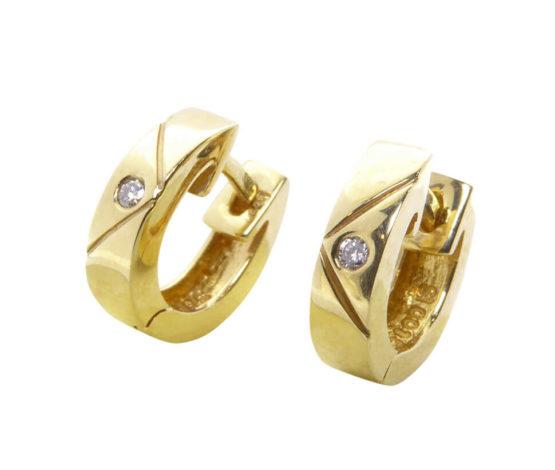 Christian gouden oorclips met diamant