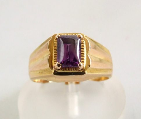 Geel gouden amethyst ring