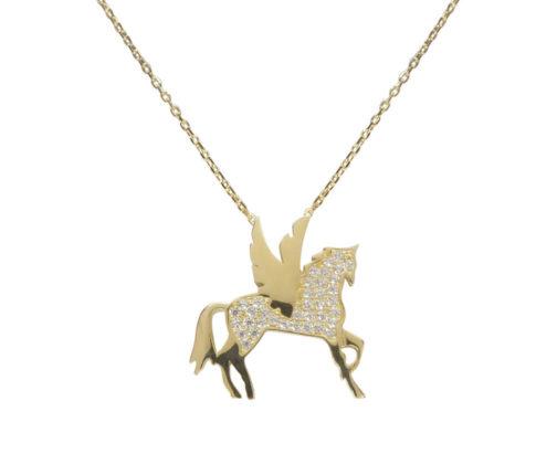 Gouden zirkonia Pegasus hanger