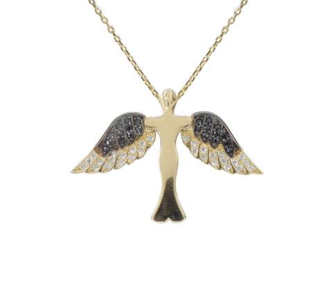 Gouden zirkonia engel hanger