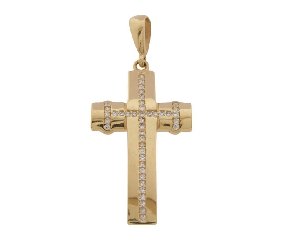 Rose gouden kruis met zirkonia