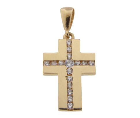 Rose gouden zirkonia kruis