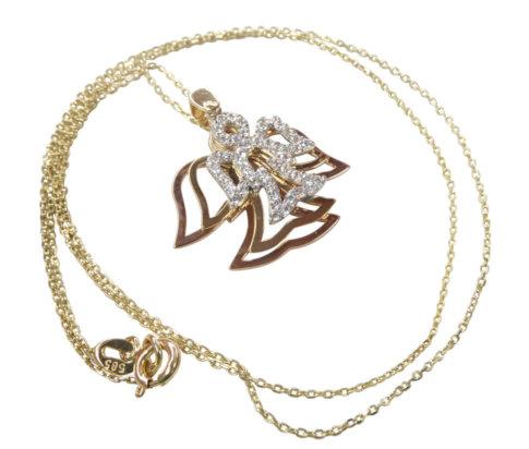 Tricolor gouden zirkonia engel hanger