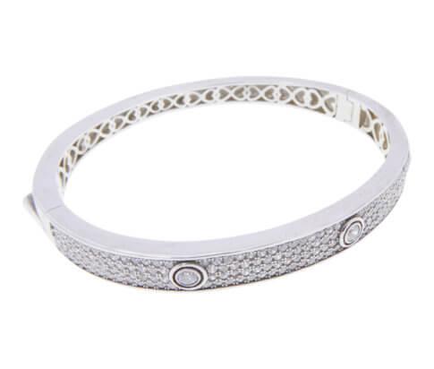 Zilveren button armband met zirkonia