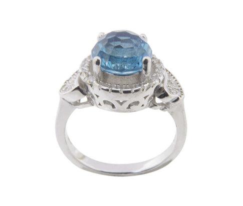 Zilveren ring met synthetische topaas