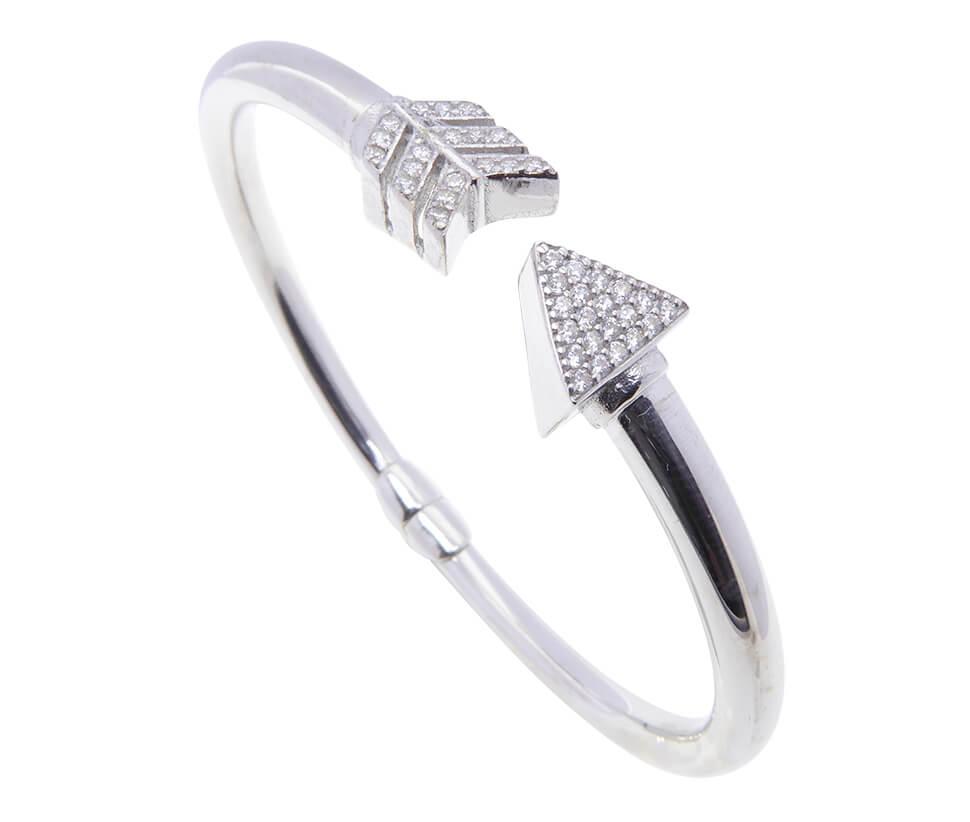 Zilveren zirkonia armband speer model