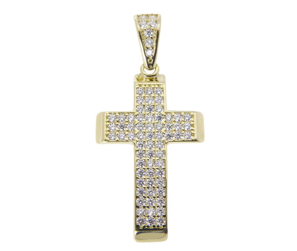 Zirkonia geel gouden kruis