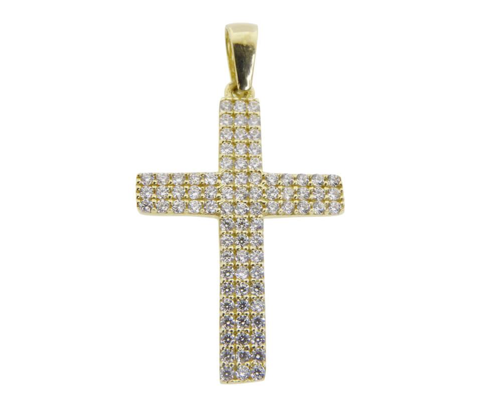 Zirkonia gouden kruis