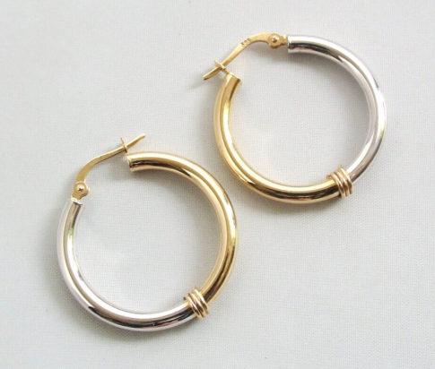 14 karaat gouden bicolor oorbellen