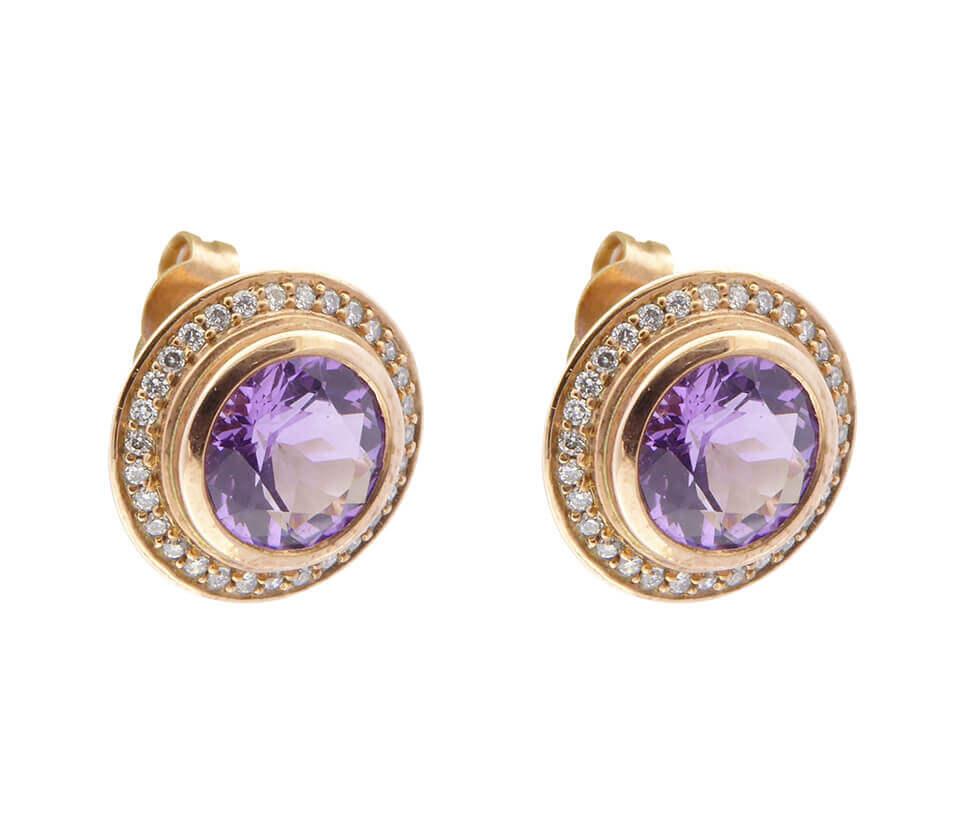 18 karaat rose gouden diamanten oorbellen