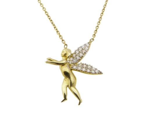 Bicolor gouden engel hanger met ketting
