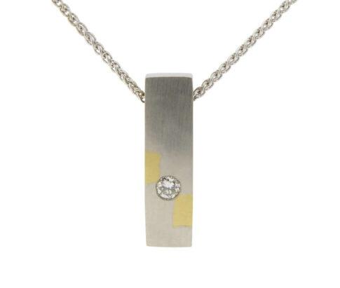 Bicolor gouden mokume hanger met diamant