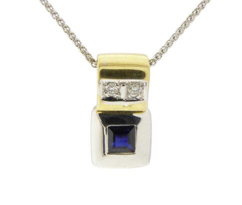 Bicolor saffieren hanger met diamanten