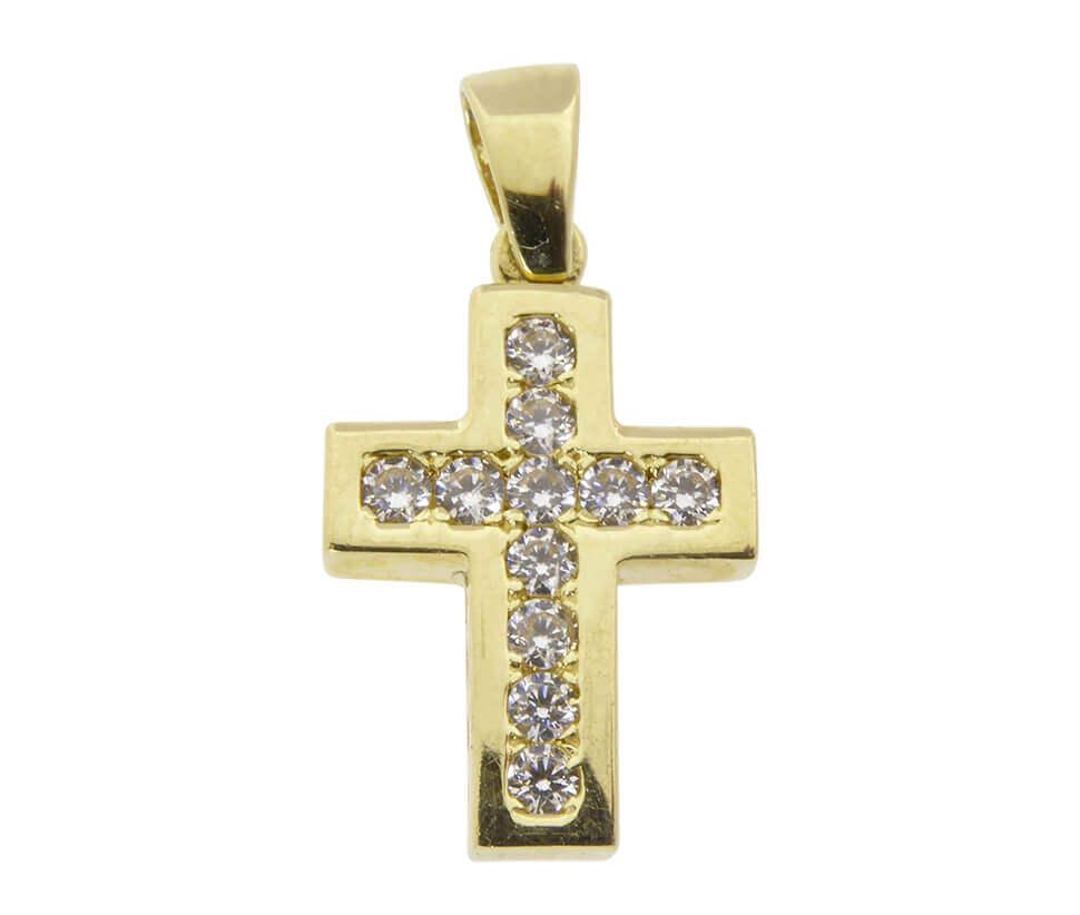 Christian gouden kruis met zirkonia