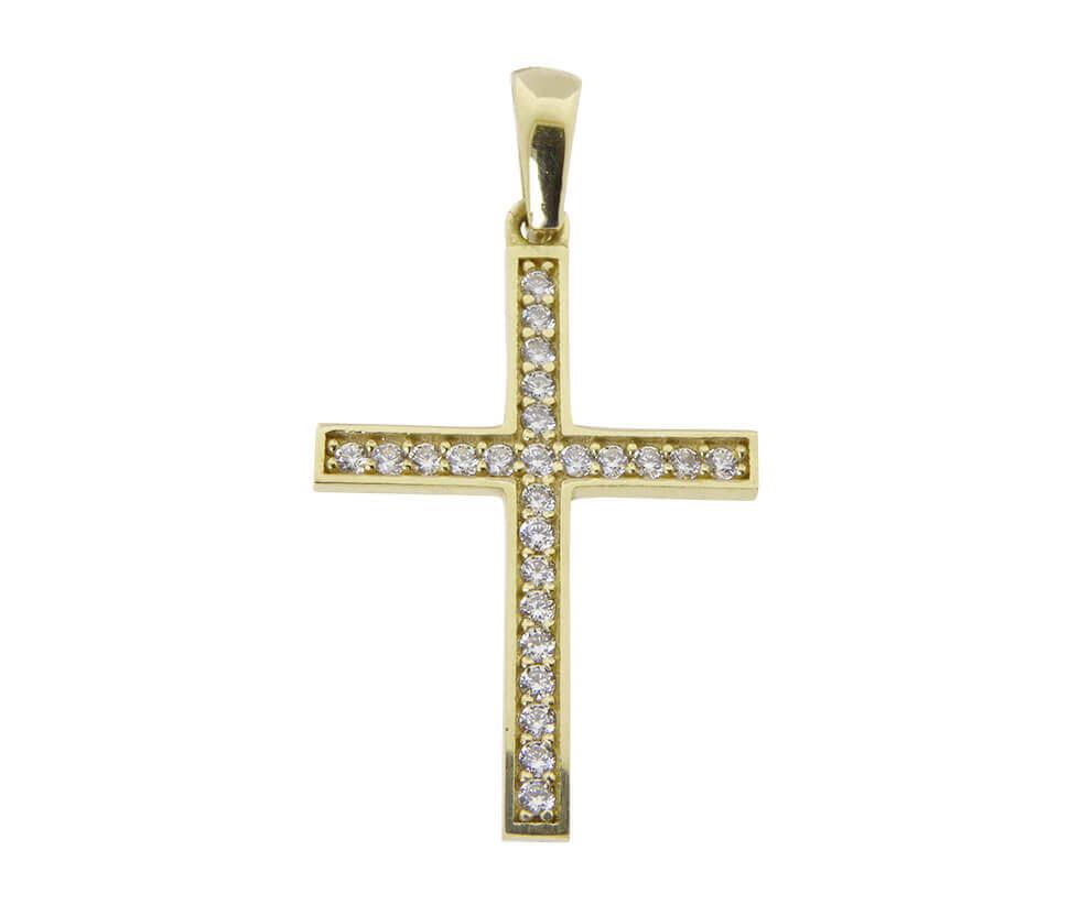 Christian gouden zirkonia kruis