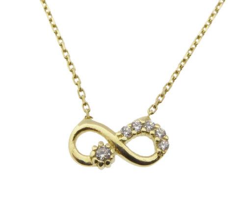 Gouden ketting en infinity zirkonia hanger
