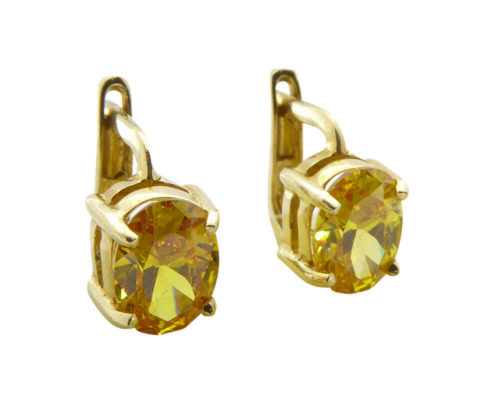 Gouden oorbellen met citrien