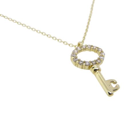 Gouden zirkonia sleutel hanger
