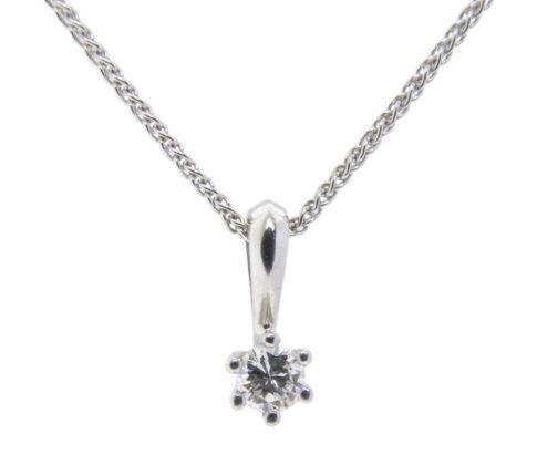 Wit gouden Christian hanger met diamant