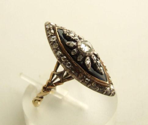 Zilver op gouden ring met roosdiamant