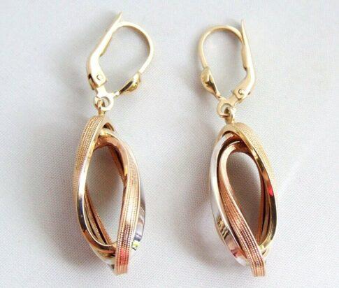14 karaat tricolor gouden oorbellen