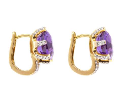 18 karaat rose gouden oorbellen met diamanten