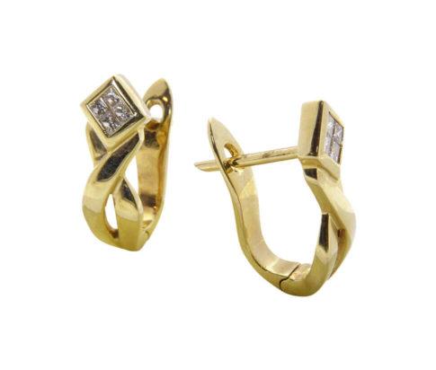 Geel gouden oorclips met diamant