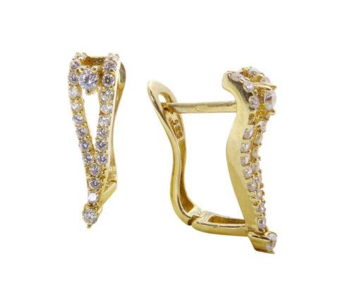 Geel gouden oorclips met zirkonia