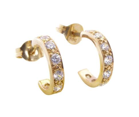 Rose gouden oorstekers met zirkonia