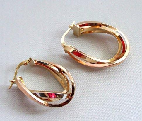 Tricolor gouden oorbellen
