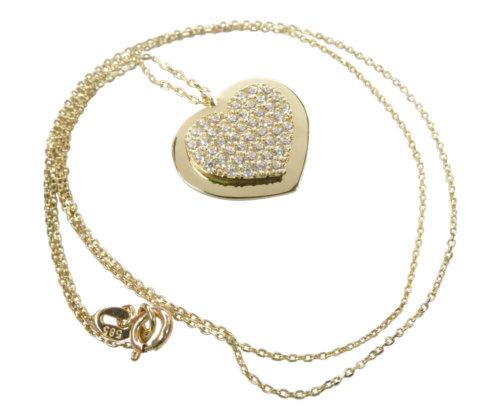 Geel gouden zirkonia hart hanger