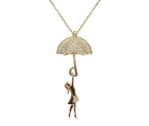 Gouden meisje met zirkonia paraplu hanger