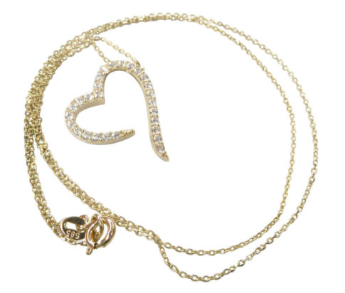 Gouden zirkonia hart hanger