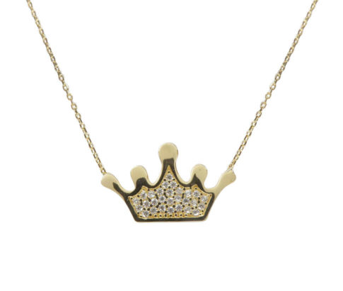 Gouden zirkonia kroon hanger