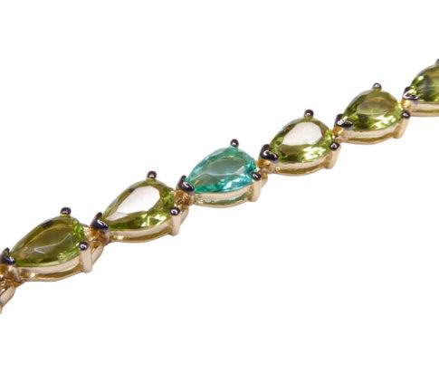 Zilveren double armband met synthetische edelstenen
