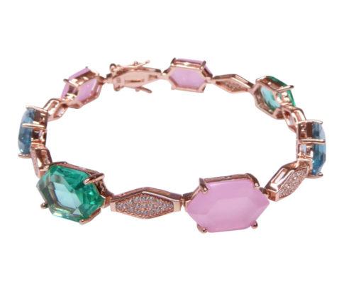 Zilveren rose double armband met synthetische edelstenen