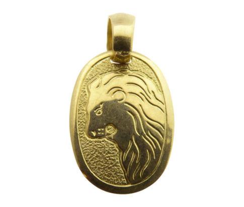 14 karaat gouden leeuw sterrenbeeld hanger