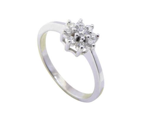 14 karaat wit gouden ring met briljanten
