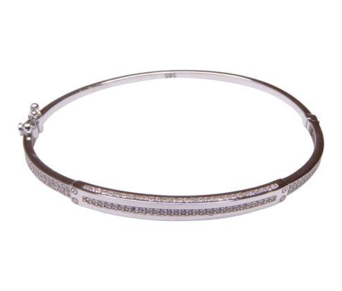 Wit gouden 14 karaat armband met zirkonia