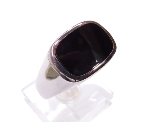Zilveren heren onyx ring