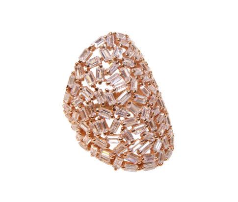 Zilveren rose ring met zirkonia