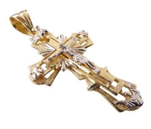14 karaat bicolor gouden kruis