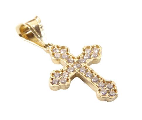 14 karaat geel gouden kruis met zirkonia