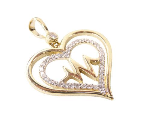 14 karaat gouden hartslag hanger met zirkonia